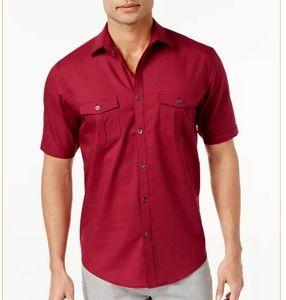 Alfani Men's Warren Shirt Red Button Down Solid